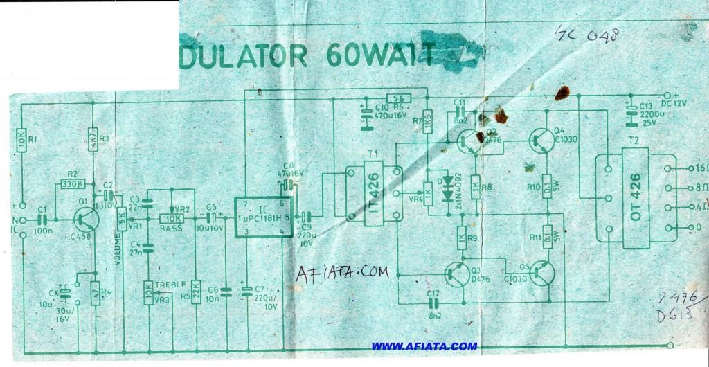 60W Audio power amplifier circuit using transformer