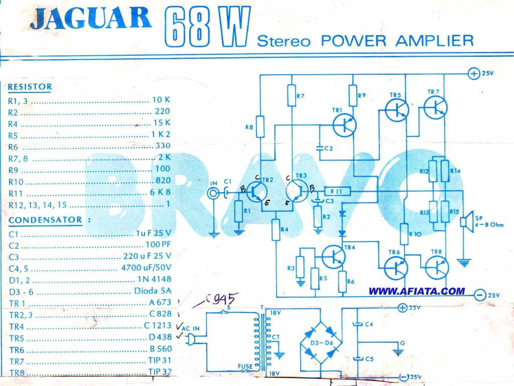 68W Power Amplifier schematic using TR A673, C828, C1213, D438, B560, TIP31 and TIP32