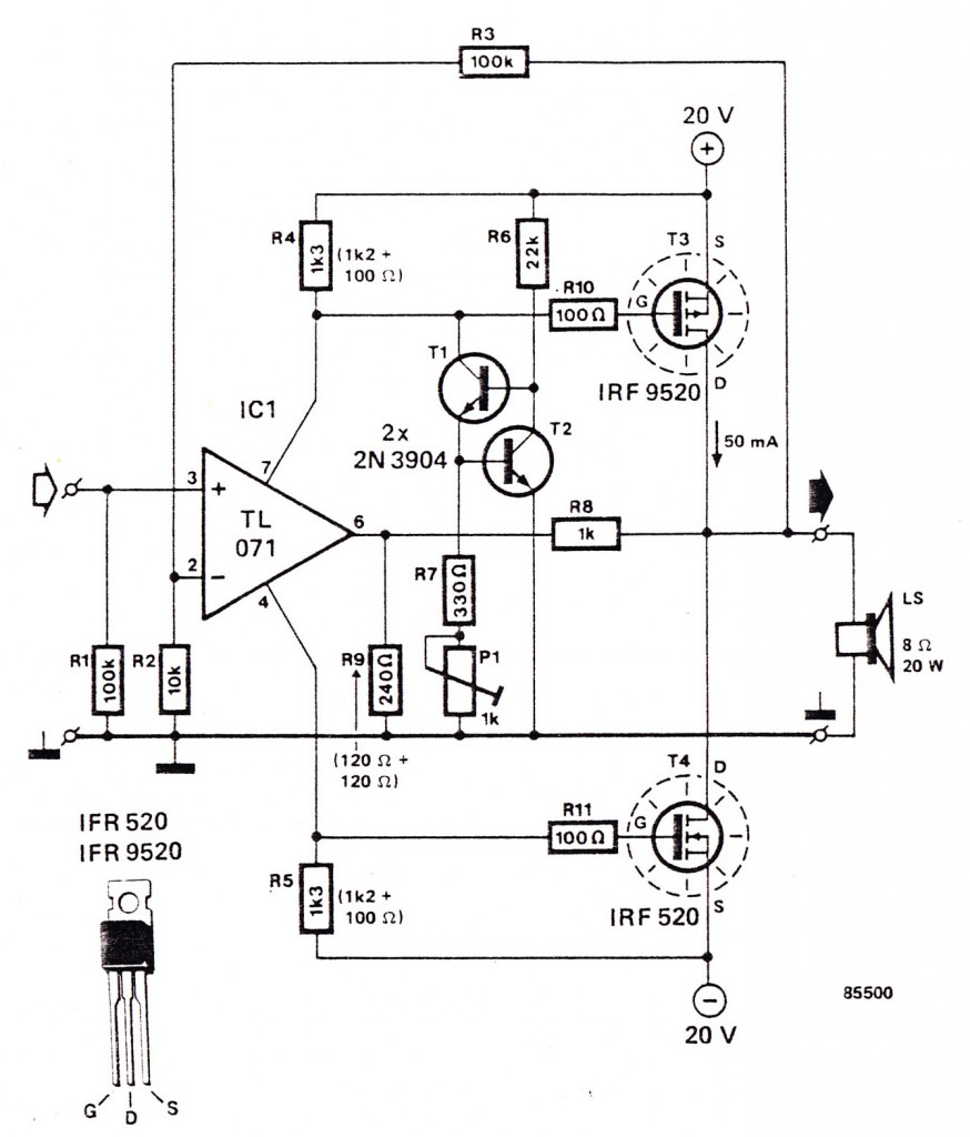 Audio amplifier Using IRF9520, IRF520, TL071, 2N3904