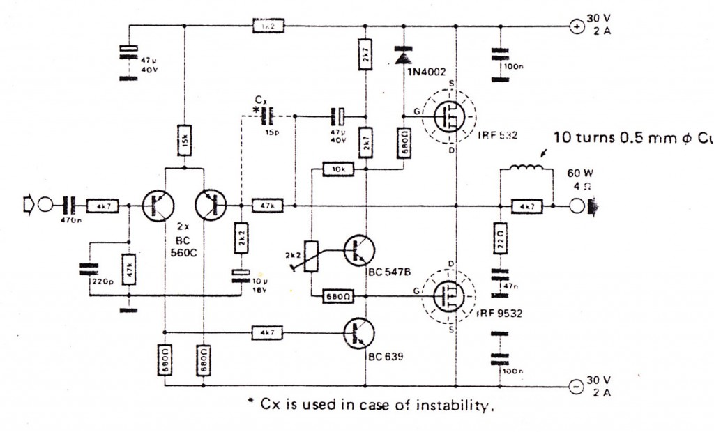 Audio amplifier using  FEt