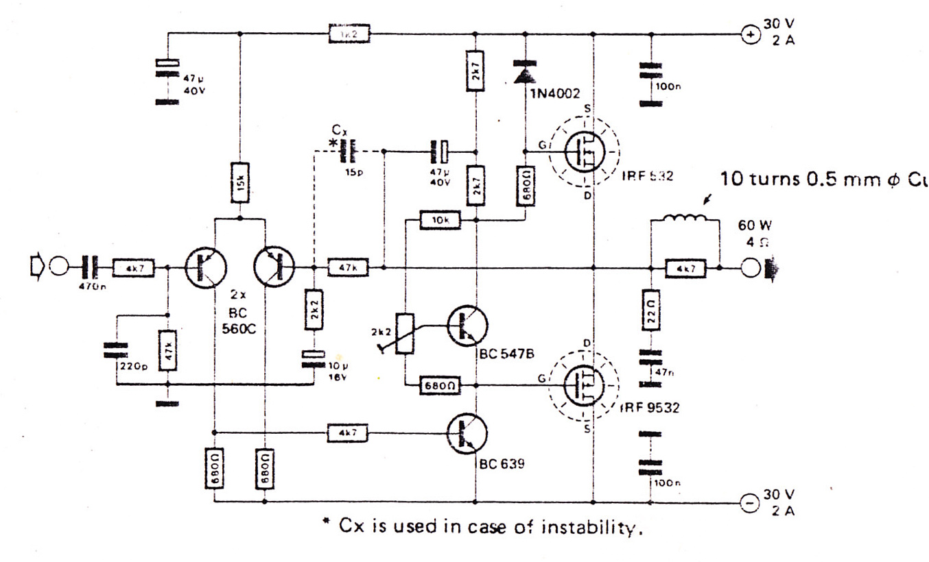 Audio Amplifier Using Fet on Simple Electronic Projects Circuit Diagram