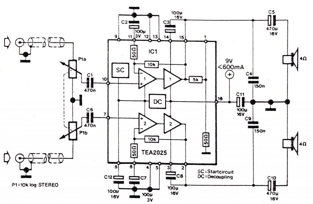 Audio circuit for Cellphone using TEA2025