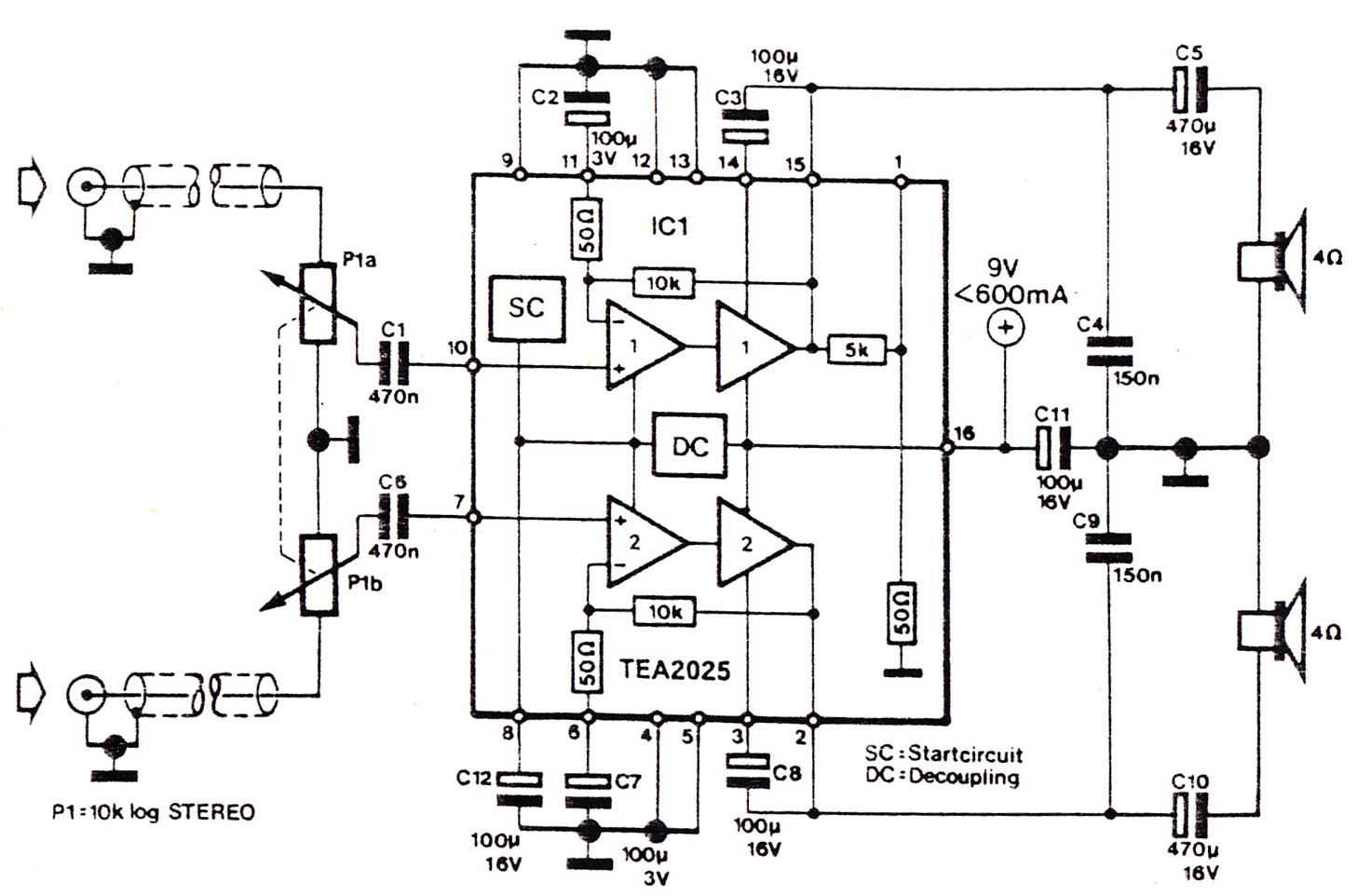 tea2025b amplifier circuit