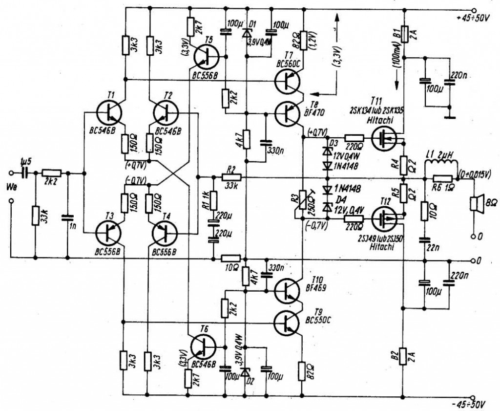 Audio circuit 70W using MOS 2SK135 2SJ50