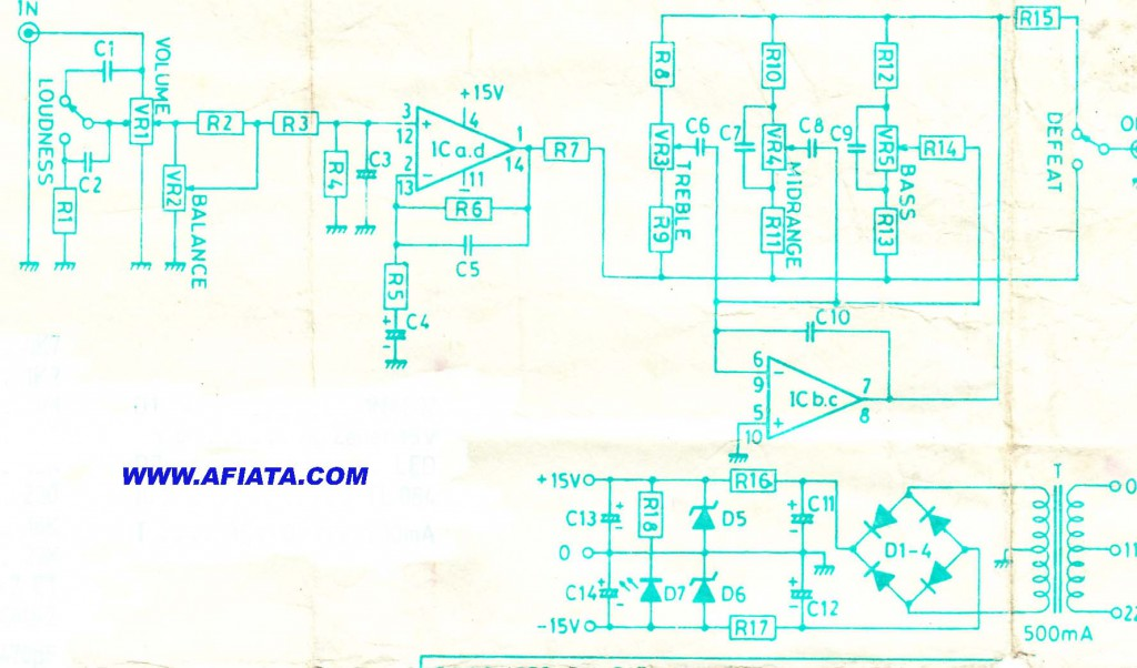 Tone control circuit using TL084