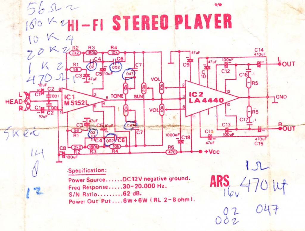 Audio Power Amplifier  using IC M5152L and LA4440