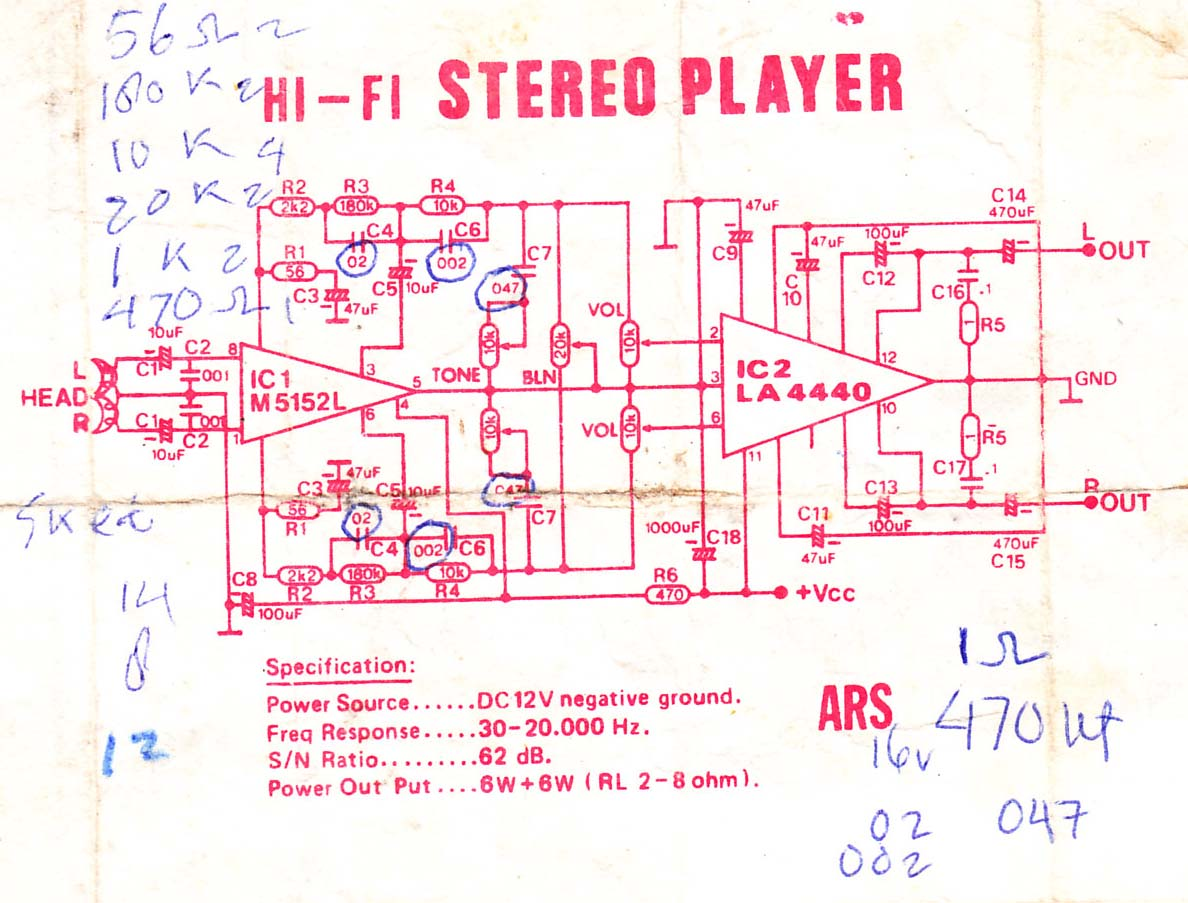 Audio Power Amplifier Electronic Circuit Diagram And Layout Stereo Pre Tone Control Based Tda1524a Using Ic M5152l La4440