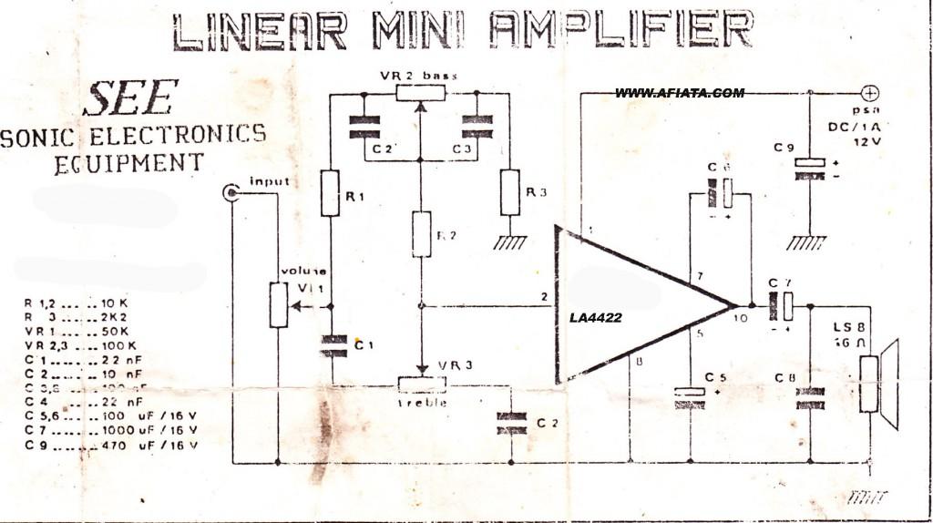 Mini Amplifier Audio circuit using LA4422