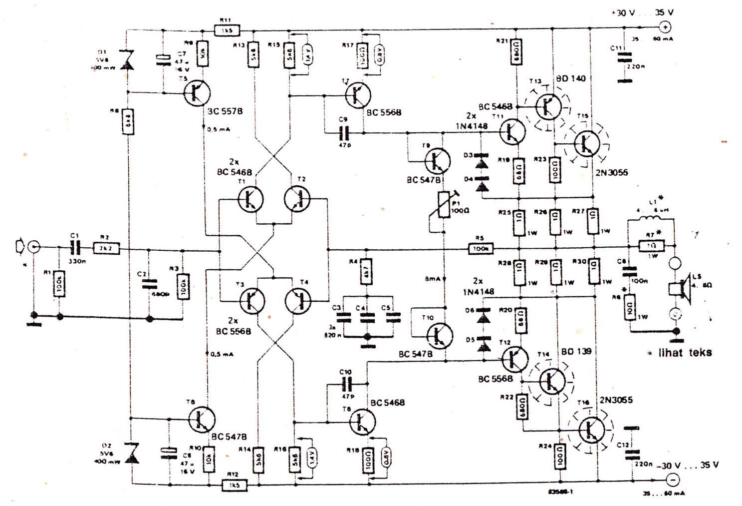 Power amplifier 200 watt using Transistor