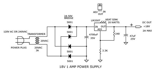 18V 1A Power Supply using LM350T, LM7818