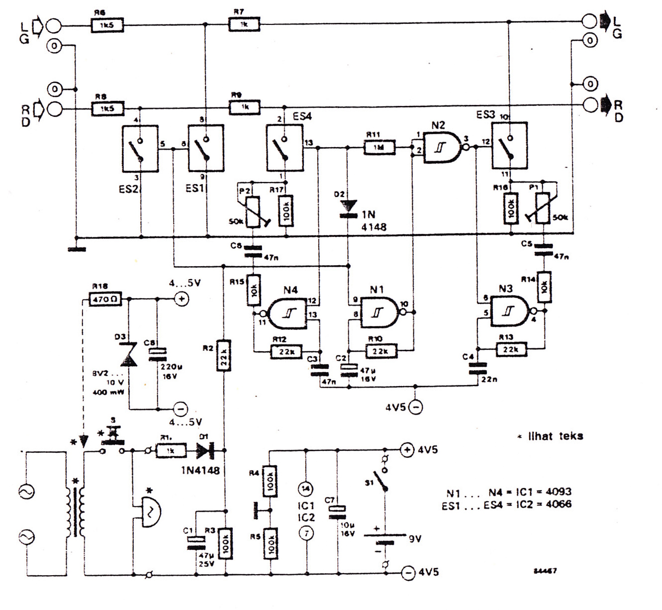 audio doorphone intercom circuits using 4093 and 4066