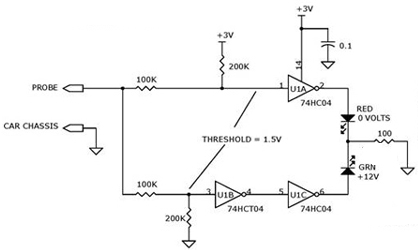 Automotive 0v to 12v Electrical Voltage Indicator using 74HC04, 74HCT04