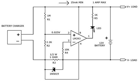 Battery Charger Current Indicator circuit using LM393