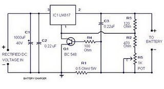 Battery Charger circuit using LM317, BC548