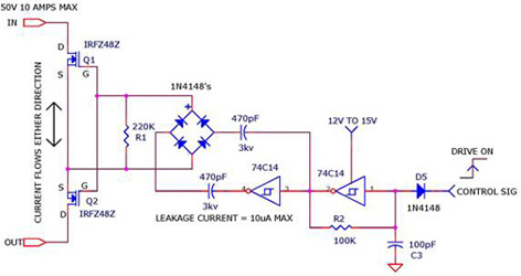 Charge Coupled Mosfet Relay Circuit using 74C14, IRFZ48Z