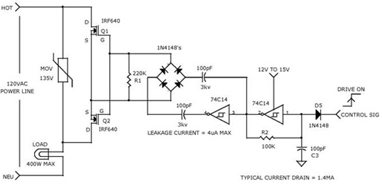 Charge Coupled Mosfet Relay using 74C14, IRF640