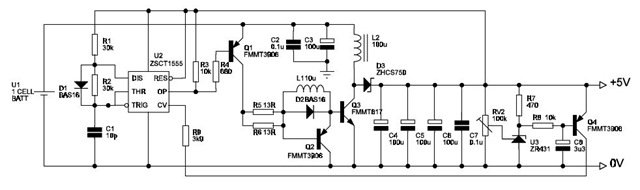 Cell voltage converter using ZSCT15555, BAS16, FMMT3906, ZHCS750