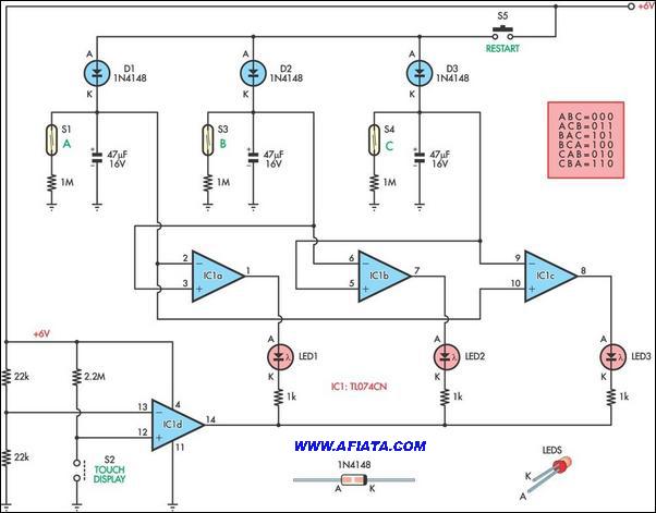 Driver LED circuit diagram using TL074, 1N4148