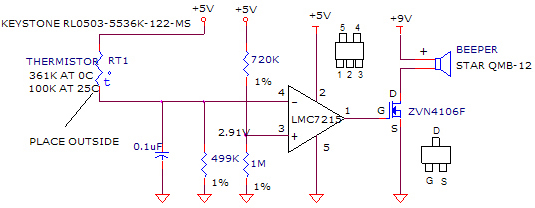 Temperature alarm circuit using LM7215, ZVN4106F