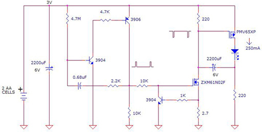 Make High Power LED Flasher using PMV65XP, ZXM61N02F, 3906, 3904 circuit