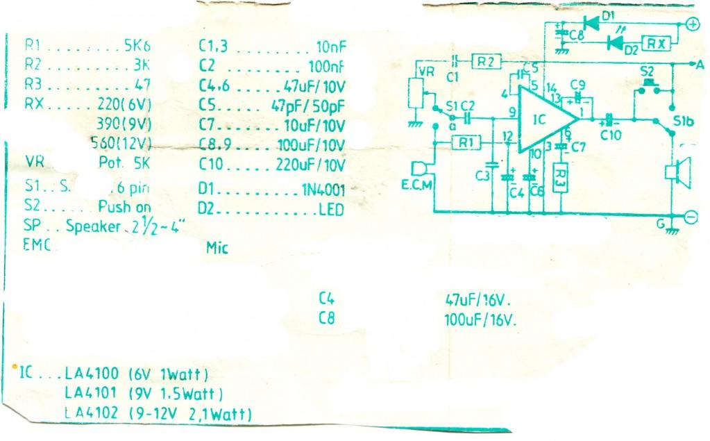 Doorphone Intercom Circuits using LA4100, LA4101, LA4102