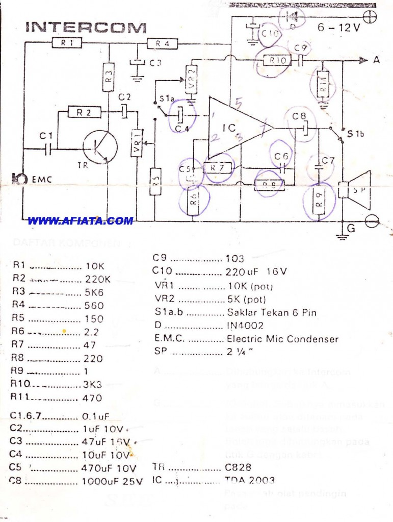 Intercom home circuit using TR C828 and IC TDA2003