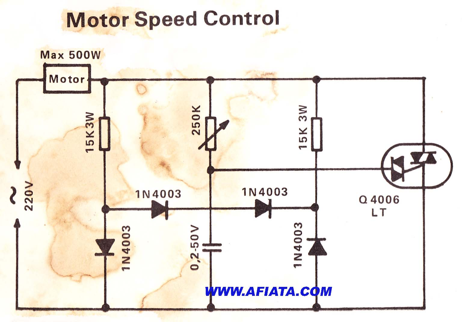 Motor speed control electronic circuit diagram and layout Speed control for ac motor