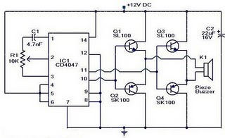 Piezo buzzer circuit using CD4047, SK100, SL100