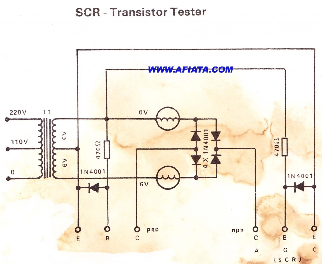 Circuit diagram for SCR and Transistor Tester