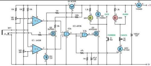Security alarm system circuit Diagram using LM358, 4093B, 2N7000, TLC106C, MTP3055E, 1N4004, BC558, 1N5400