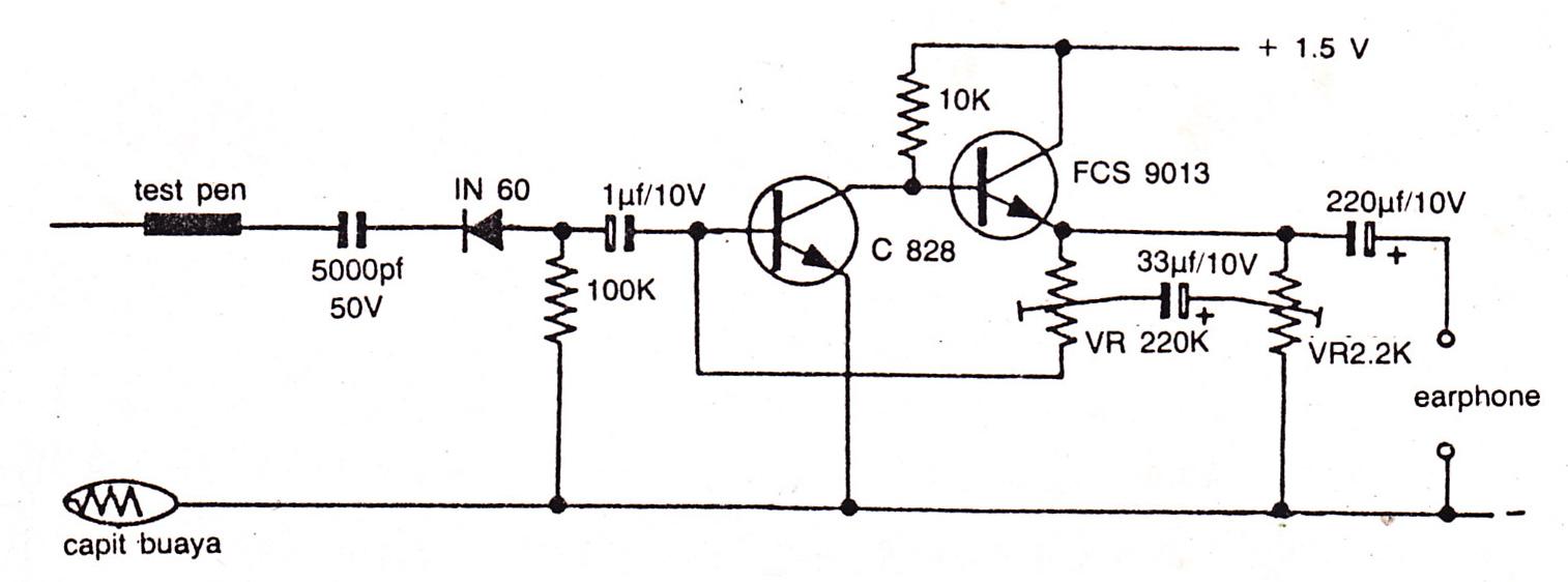 Simple And Sensitive Audio Detector Electronic Circuit Diagram Using C828 Fcs9013