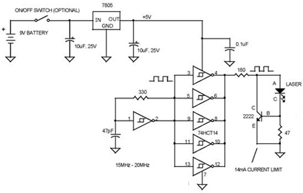 Simple Vcsel Laser Tester circuit  using 74HC14, 2N2222, 7805