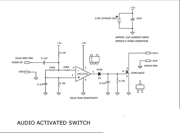 A Switch That Would Activate Whenever It Got An Audio Input Electronic Circuit