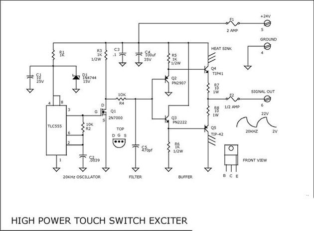 POWER TOUCH SWITCH EXCITER CIRCUIT using TLC555, 2N7000, PN2907, PN2222, TIP41, TIP42