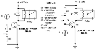 Switching driver Circuit using 2N2222, Relay, LDR