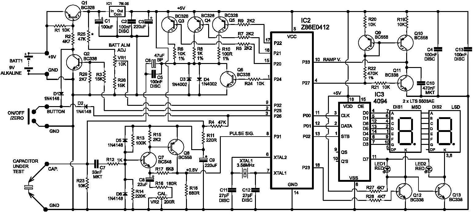 esr meter schematic diagram