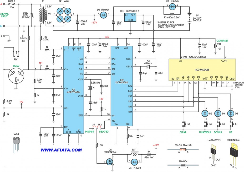 Energy Meter circuit using ADE7756AN, PIC6F62BA, LM2940CT-5, 1N4004, STP30NE06L
