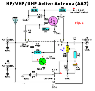 HF VHF UHF tv antenna boster Active circuit diagram using 2SC2570, MFE201