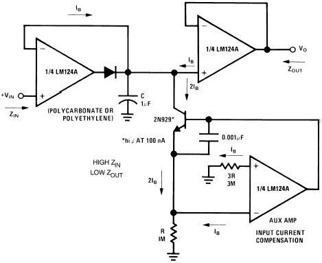 Low drift peak detector circuit using LM124A, 2N929