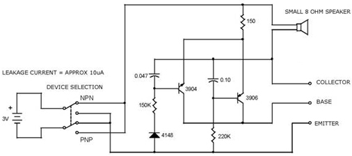 NPN-PNP Transistor Tester Circuit using 3906