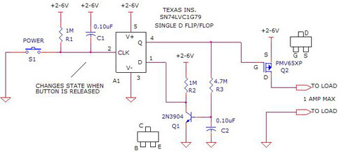 Alternating on/Off  Control - This circuit uses three easily available using 2N3904, PMV65XP