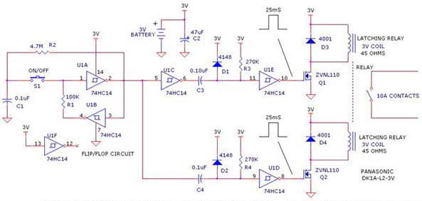 On Off Latching Relay Driver Using Hc Zvnl on Latching Relay Circuit Diagram