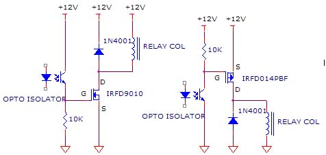 Simple Opto circuit for Relay switch using IRFD9010, IRFD014PBF