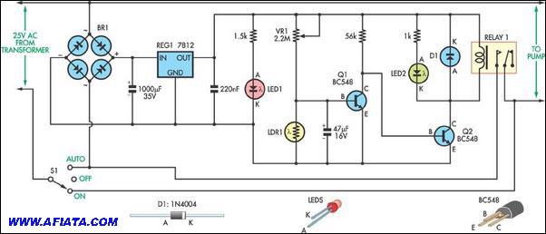 Power Delay On-Off with LDR using 1N4004, BC548, Relay, LDR