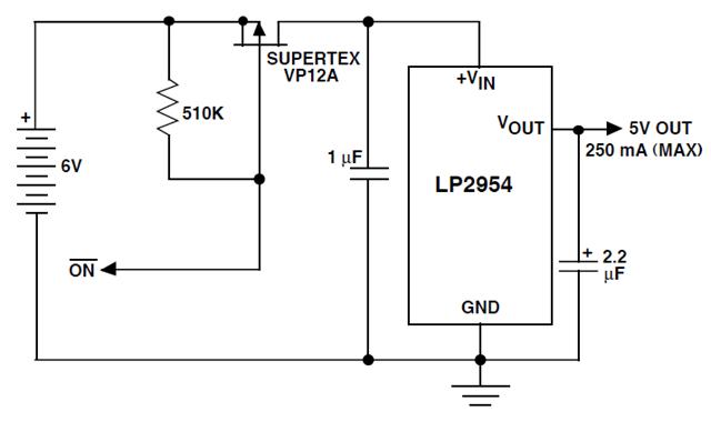 Power Shutdown Circuit For LDO Regulator using LP2954