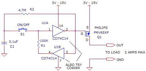 Latching  Switch Circuit using CD74C14, CD6069, PMV65XP
