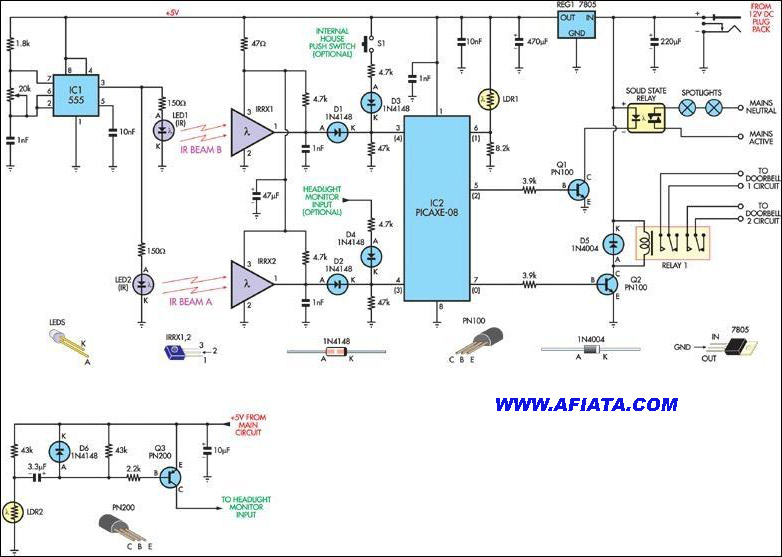 PUSH-ON and PUSH-OFF ELECTRONIC SWITCH Circuit Diagram using 555, PICAXE-08, 1N4148, 1N4004, PN100, 7805