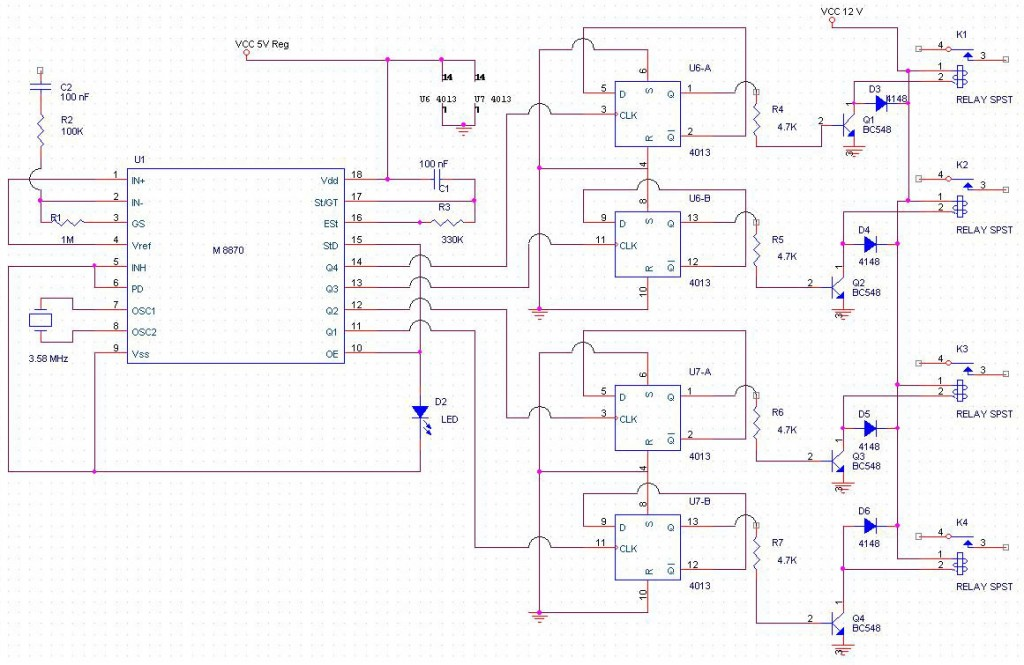 DTMF control RELAY  SWITCHING circuit using M8870, 4013, BC548