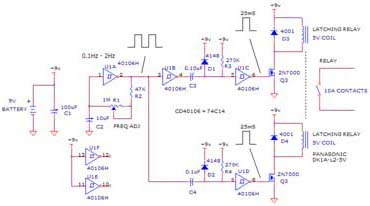 Simple Flasher Circuit Using Relay, 40104, 45104, 74C14, 2N7000
