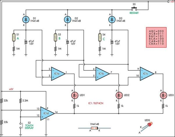 Touch screen monitor circuit using TL074, 1N4148